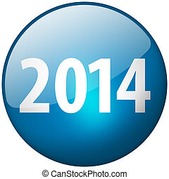 2014 Round Blue Glass Shiny Button