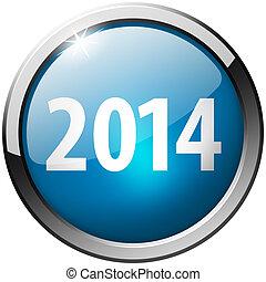 2014 Round Blue Metal Shiny Button