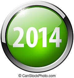 2014 Round Green Metal Shiny Button