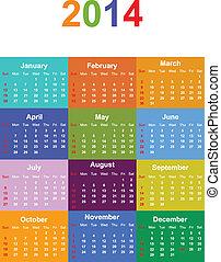 2014, sazonal, calendário