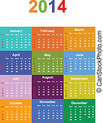 2014 Seasonal Calendar Vector Illustration