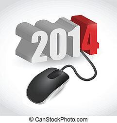 2014, segno, collegato, a, topo, illustrazione