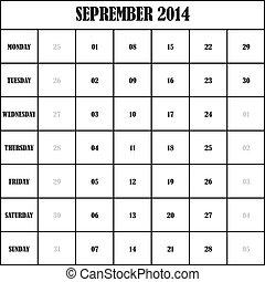 2014 SEPTEMBER Planner Calendar