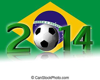 2014 soccer design with brazil flag