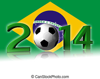 2014 soccer design with brazil flag