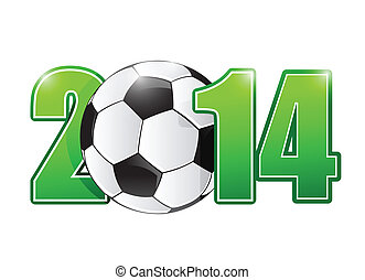 2014 soccer or football ball sign illustration