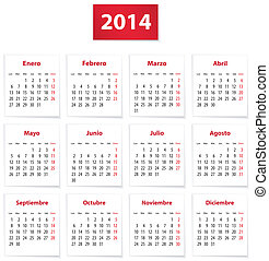2014 Spanish calendar - Calendar for 2014 year on white ...