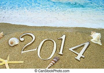 2014, spiaggia, anno nuovo