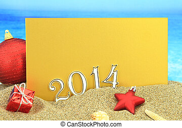 2014, strand, kaart, jaarwisseling
