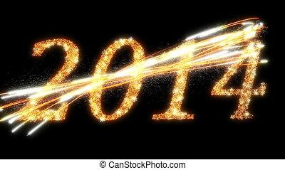 2014:, symbolen, vuurwerk, het fonkelen