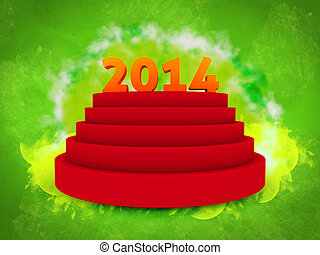 2014 text on 3d, over podium isolated green background