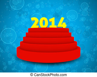 2014 text on cylinder podium