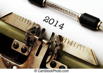 2014, text, på, skrivmaskin