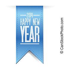 2014, textured, jaar, nieuw, spandoek, vrolijke