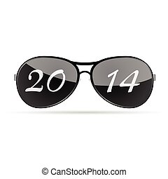 2014, vecteur, sunglass, illustration