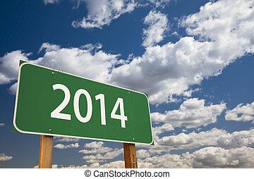 2014, verde, sinal estrada, sobre, nuvens