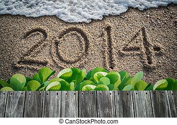2014, writen, strand, jaarwisseling