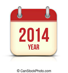 2014 Year Calendar App Icon With Reflection