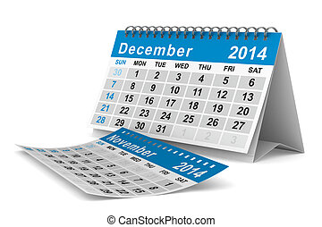 2014 year calendar. December. Isolated 3D image