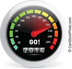 2014 year Calendar speedometer car. Vector illustration