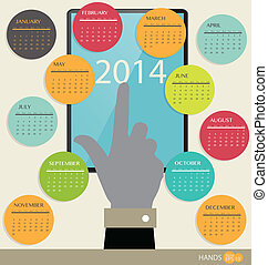 2014 year calendar, vector illustration.