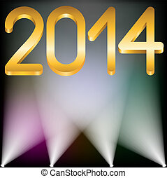 2014 year golden figures and spotlights up