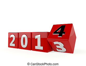 2014 year in 3d - 3d render of new year 2014 - 2013 change...