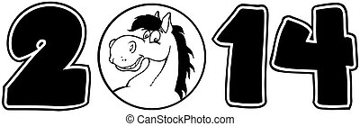 2014 Year Numbers With Horse Face
