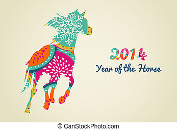 2014 Year of the Horse colorful illustration