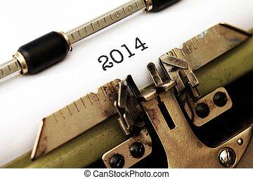 2014 year on typewriter