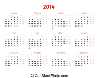 2014 Year vector calendar. Flat style design