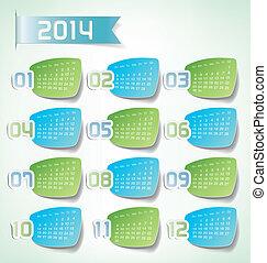 2014 Yearly Calendar. Trendy sticker labels design illustration
