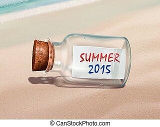 2015, été, message, bouteille