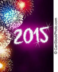 2015, új, tűzijáték, boldog, év