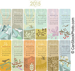 2015, カレンダー, セット