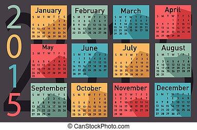 2015, カレンダー, ベクトル, 年