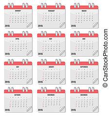 2015, カレンダー, ベクトル, year., illustration.