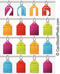 2015, カレンダー, ラベル, デザイン, 掛かること