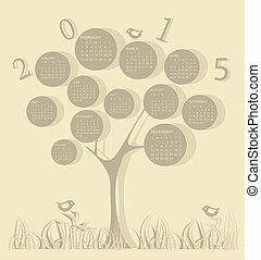 2015, カレンダー, 作られた, 木, 年