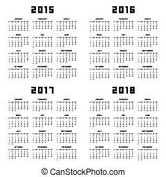 2015, カレンダー, 2016, 2017, 2018