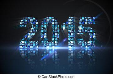 2015, 作られた, の, デジタル, スクリーン, 中に, 青