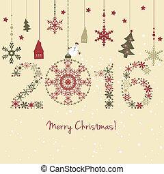 2015, 新しい, カード, 年