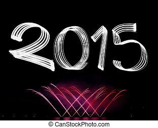 2015, 新しい, 花火, イブ, 年の