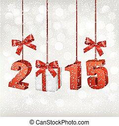 2015, 新年, 背景, 由于, gift., vector.