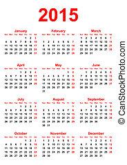 2015, 日曆