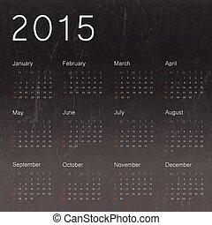 2015, 黒, カレンダー, ベクトル, バックグラウンド。, 黒板