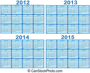 2015, 2012, 2014, sätta, calen, 2013