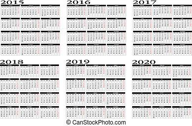 2015, 2020, calendario