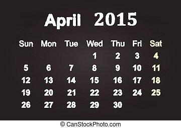 2015, 4 月, 月