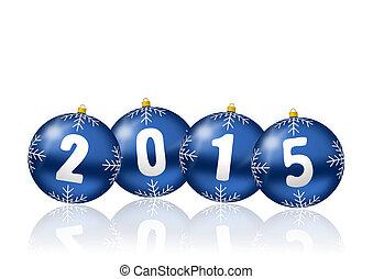 2015, año nuevo, ilustración, con, navidad, pelotas
